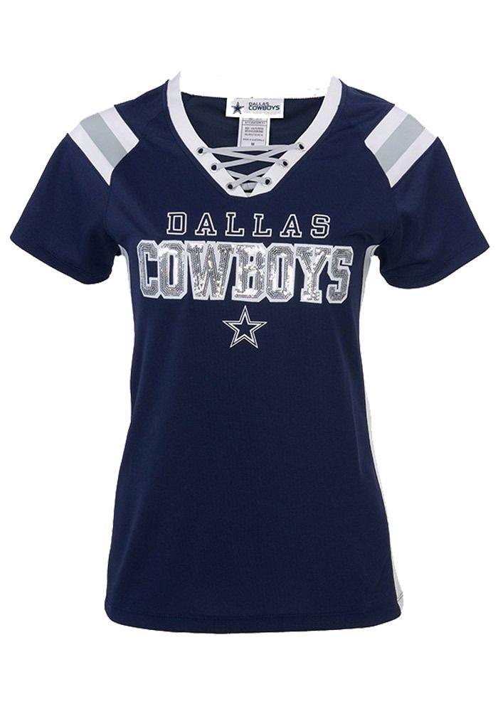 Dallas Cowboys T-Shirt - Navy Blue Cowboys Lace Up Short Sleeve Tee ... db60bbabf