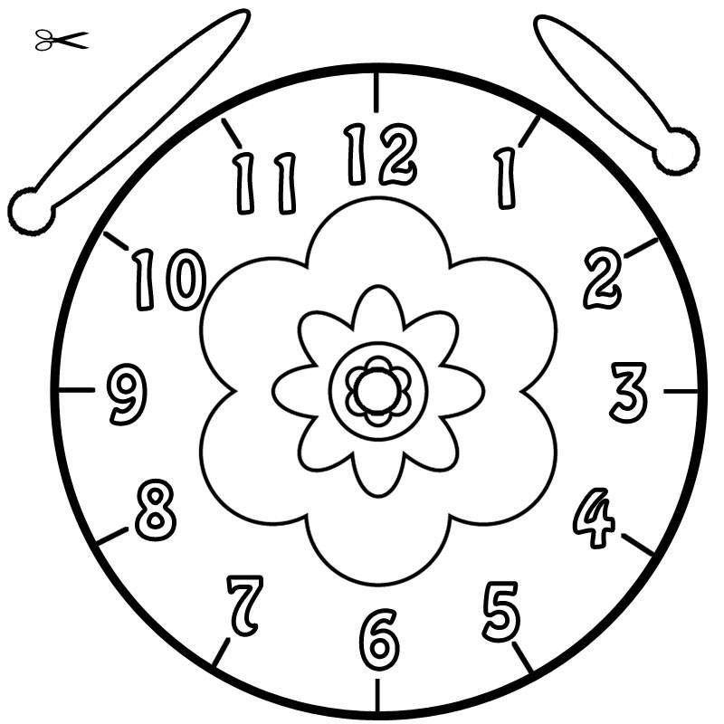 Vorlage Uhr Blume 01  ausmalbilder  Pinterest