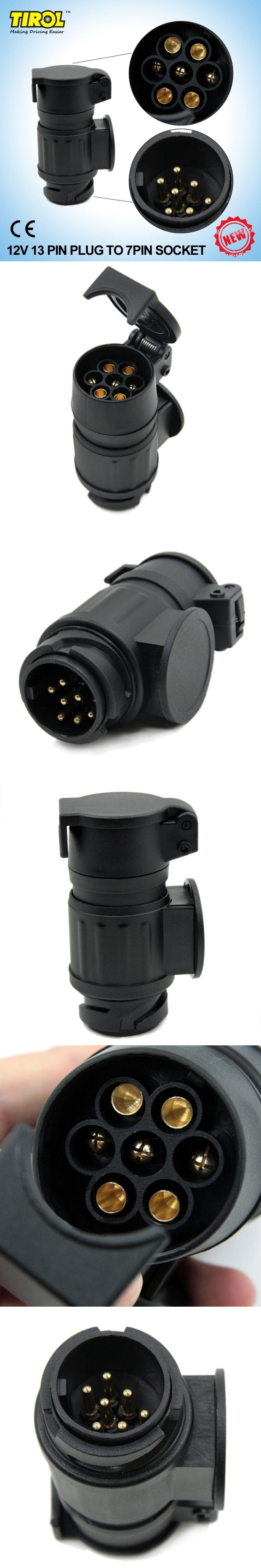 Tirol 13 To 7 Pin Trailer Adapter Black Frosted Materials Wiring Towbar Socket Connector 12v Towing