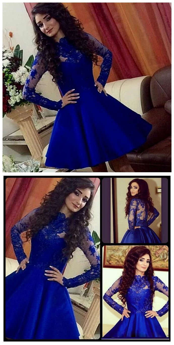 Long sleeve prom dressshort blue p short blue prom dresses prom