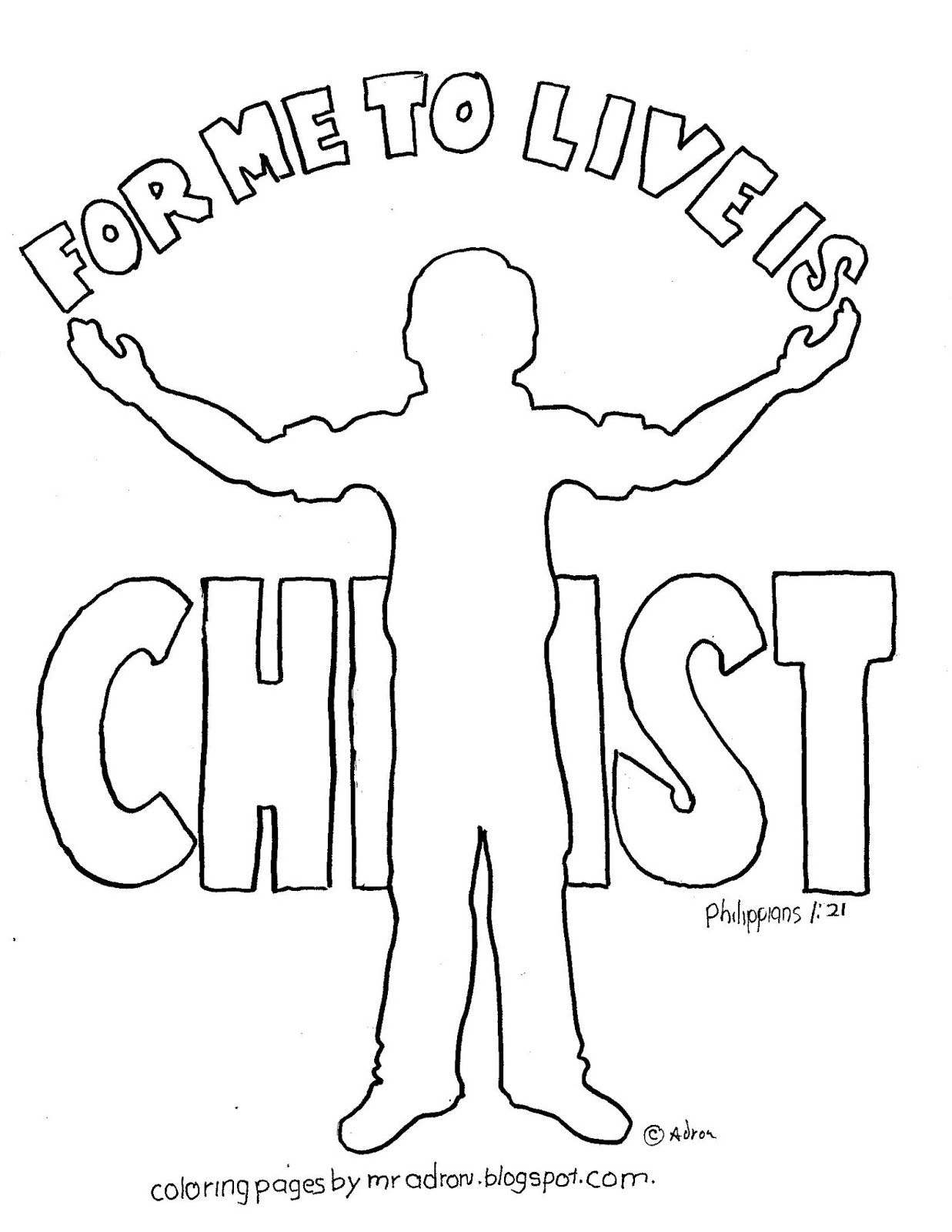 coloring pages for kids by mr adron for me to live is christ