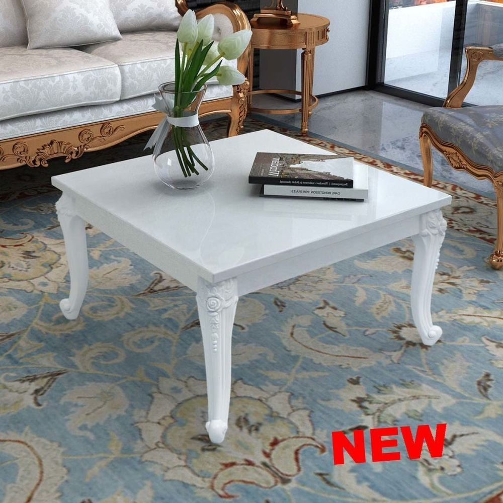 Unique Coffee Table Vintage Square High Gloss White Wood