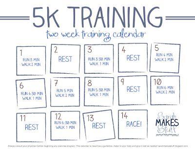 "2week 5k training calendar free download  ""just do it"