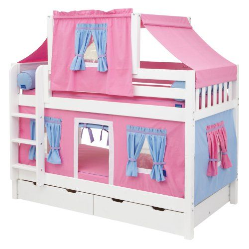 Hot Shot Girl Twin Over Twin Deluxe Tent Bunk Bed Kids Trundle