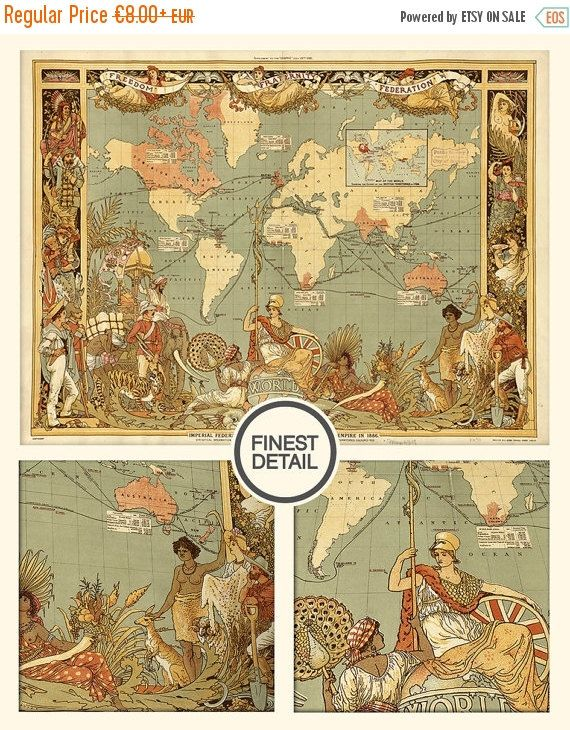 Old maps - Home decor - The World of Imperial Federation (1886), 017 ...