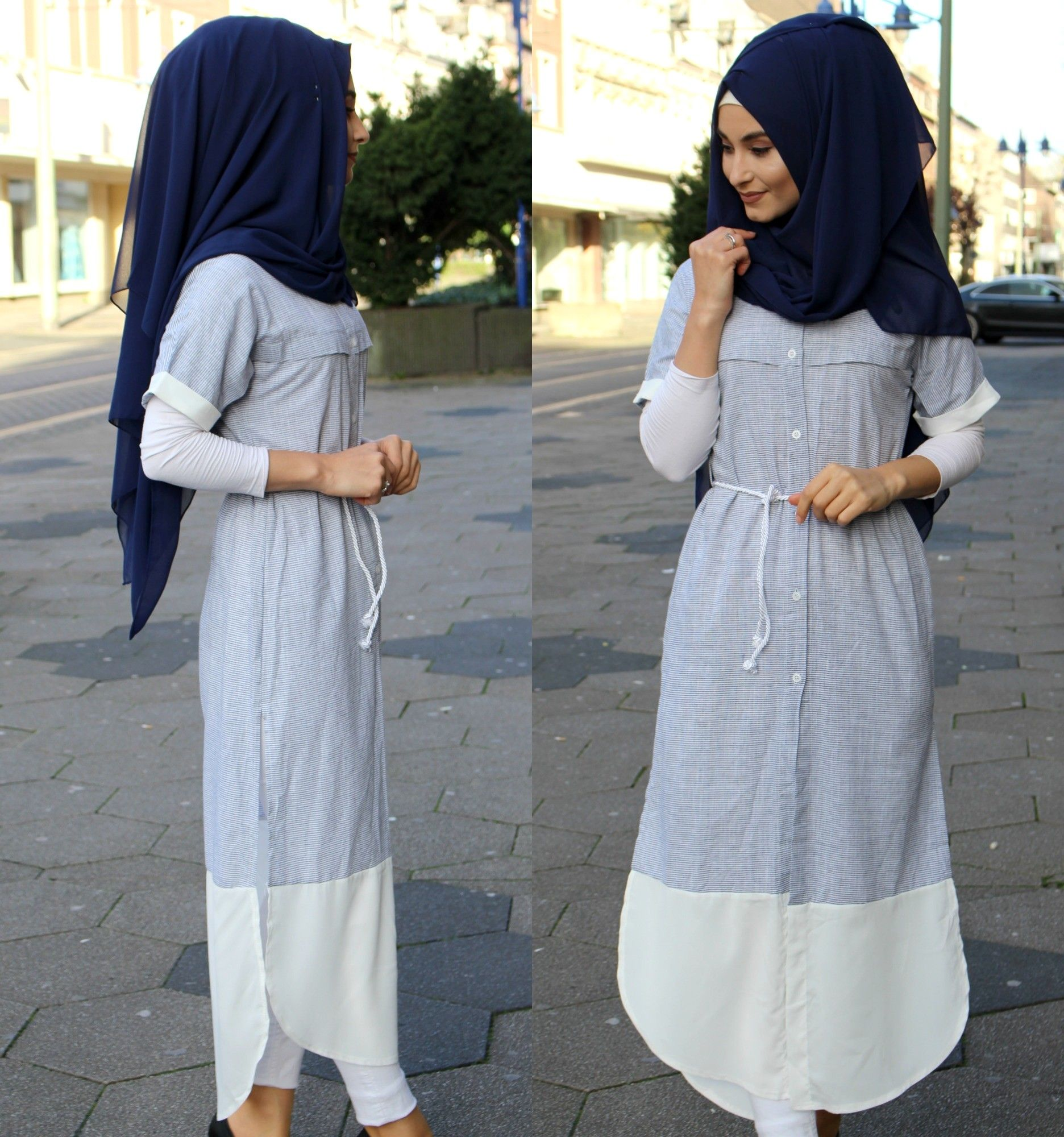 hijab grey tunic  Hijab fashion, Hijab dress, Hijab chic