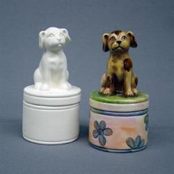 CHESAPEAKE BISQUE BOX DOG SITTING - Ceramic Arts