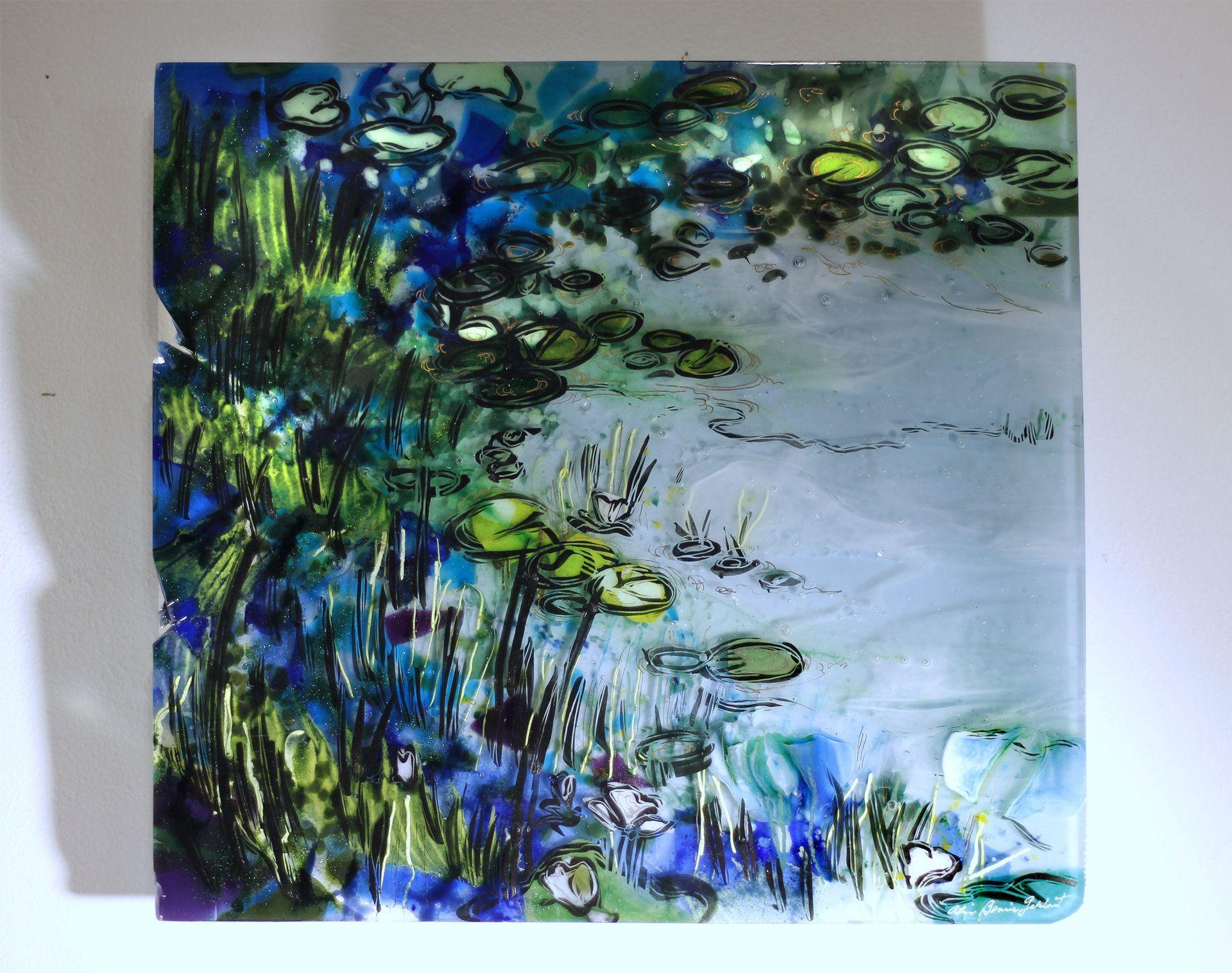 Modern garden wall art  Japanese Garden by Alice Benvie Gebhart Art Glass Wall Sculpture