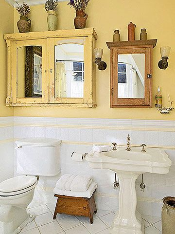 SALVAGE A CABINET.  Add mirrors to cabinet doors.
