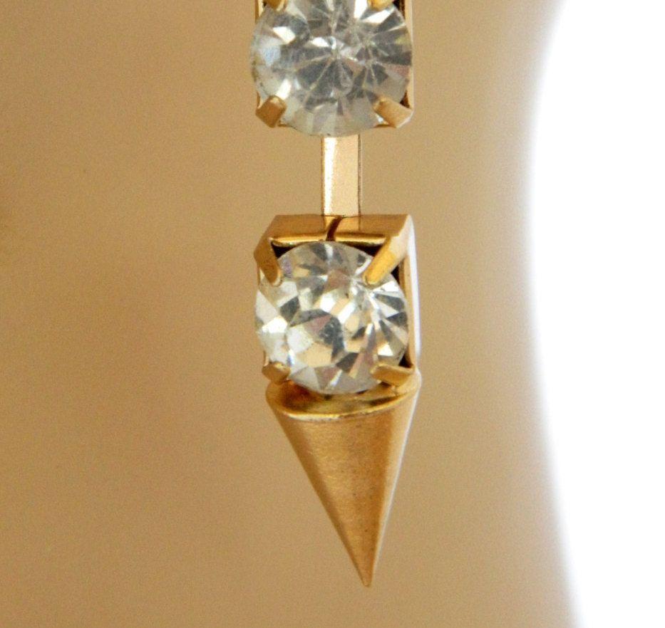 "Vintage 80s Dangle Earrings Geometric Cone Shape 2"", Hook Earrings, 80s Earrings, Gold Tone, Costume Jewelry, Free Shipping, Free Shipping by DecoOwl on Etsy"