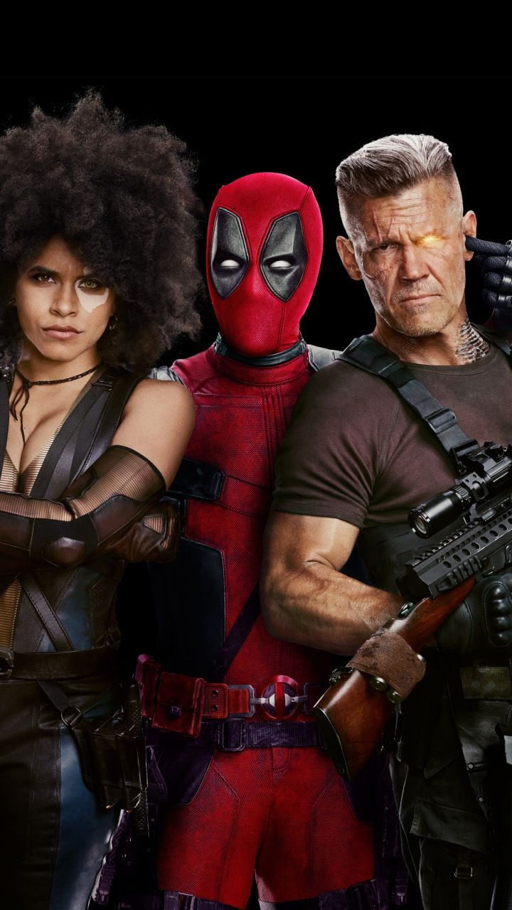 deadpool 2, movie, domino, cable, deadpool, 2018, 720x1280 wallpaper