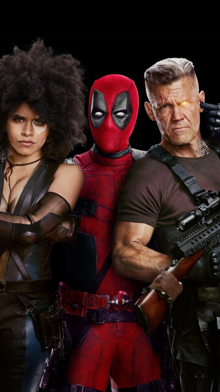 deadpool 2, movie, domino, cable, deadpool, 2018, 720x1280 wallpaper