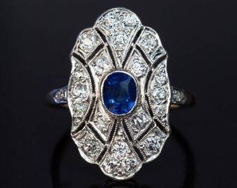 Photo of Vintage Art Deco Emerald Diamond Platinum Engagement Ring | Etsy