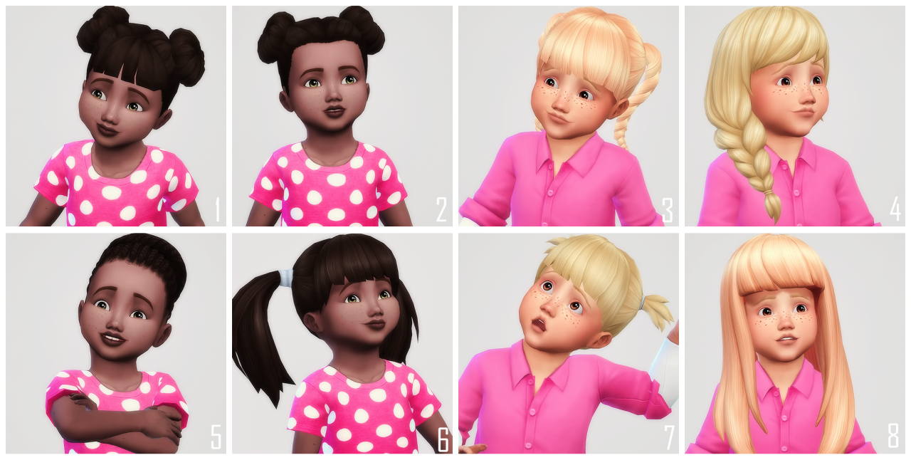 Toddler CC hairs recolored• You need the meshes: 1 & 2 | 3 | 4 | 5 | 6 | 7 | 8 • I'm not sure if #4 requires Get Together or not • All hairs have a custom thumbnail • 24 swatches • The .zip file...