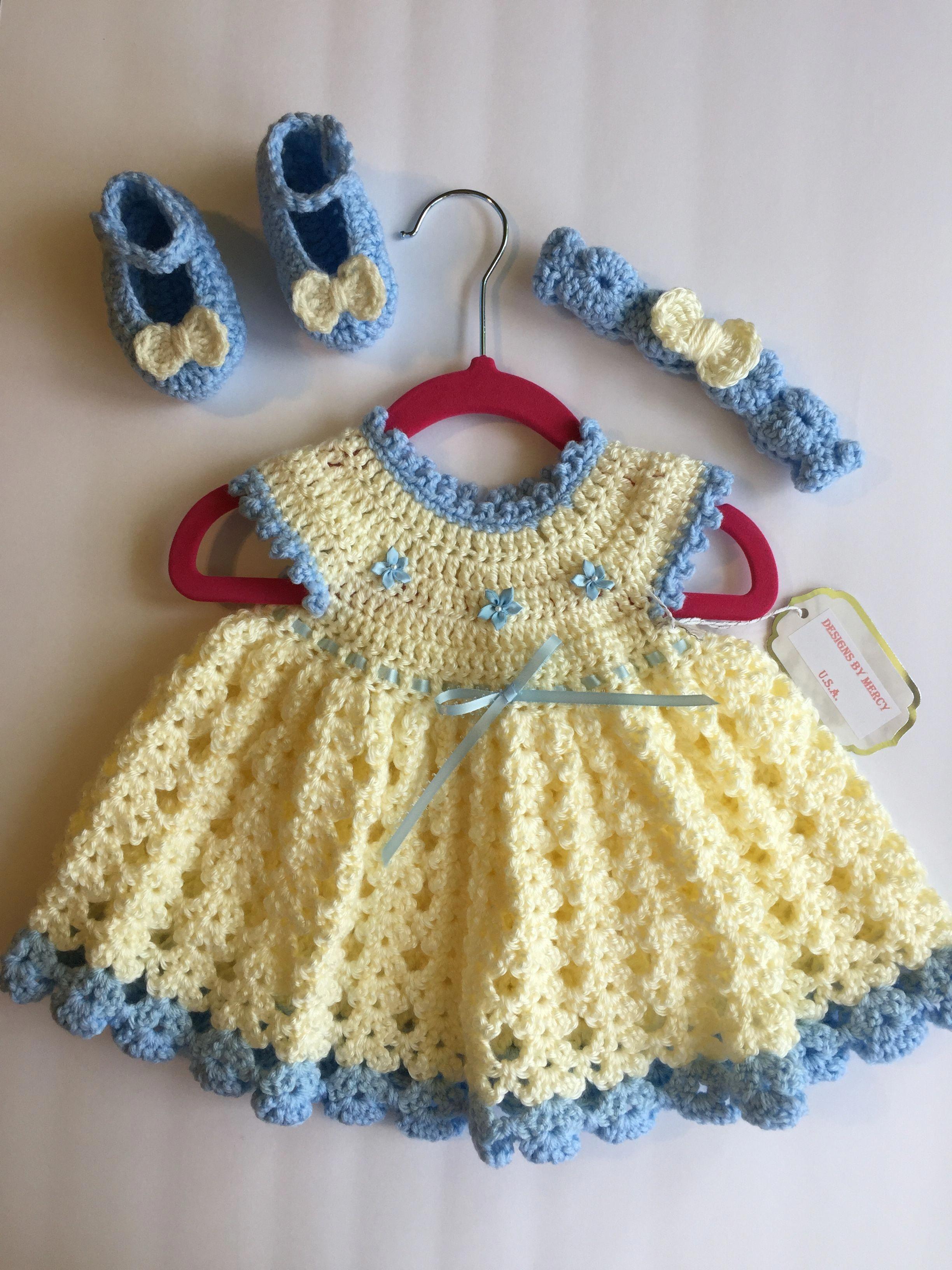 6d20b17a55f7 Ivory and Blue Crochet Baby Dress Blue Crochet Baby Headband Blue ...