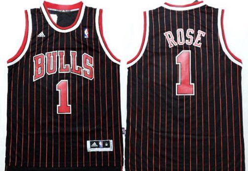 Chicago Bulls #1 Derrick Rose Revolution 30 Swingman Black Pinstripe Jersey