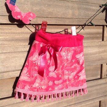 Vlinder rokje roze met vlinder applicatie - foto 1