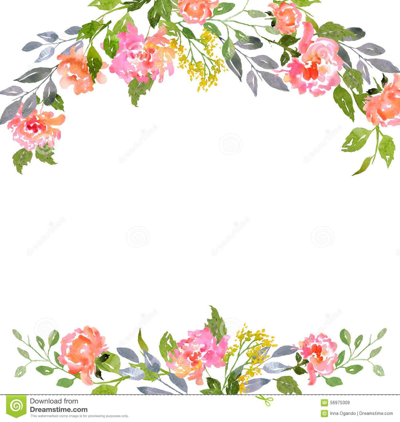 Watercolor Floral Card Template Download From Over 43 Million