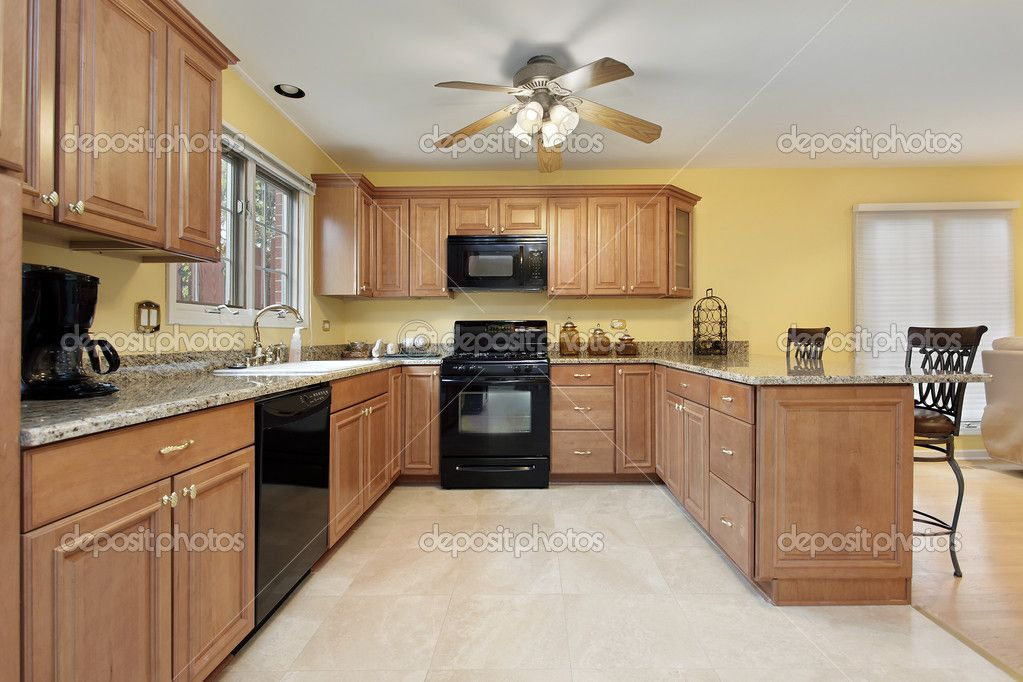 Kitchens With Black Appliances Google Search Yellow Kitchen