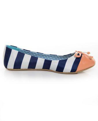 5533d2020543b9 Dollhouse Koni Navy Blue   White Striped Ballet Flats