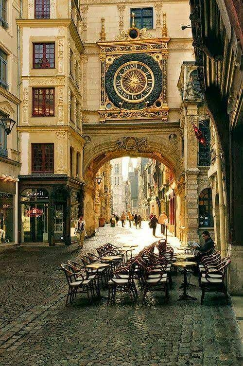 Let's have coffee at a Cafe by The Gros Horloge - a 14th century astronomical clock tower in Rouen, Normandy, France…