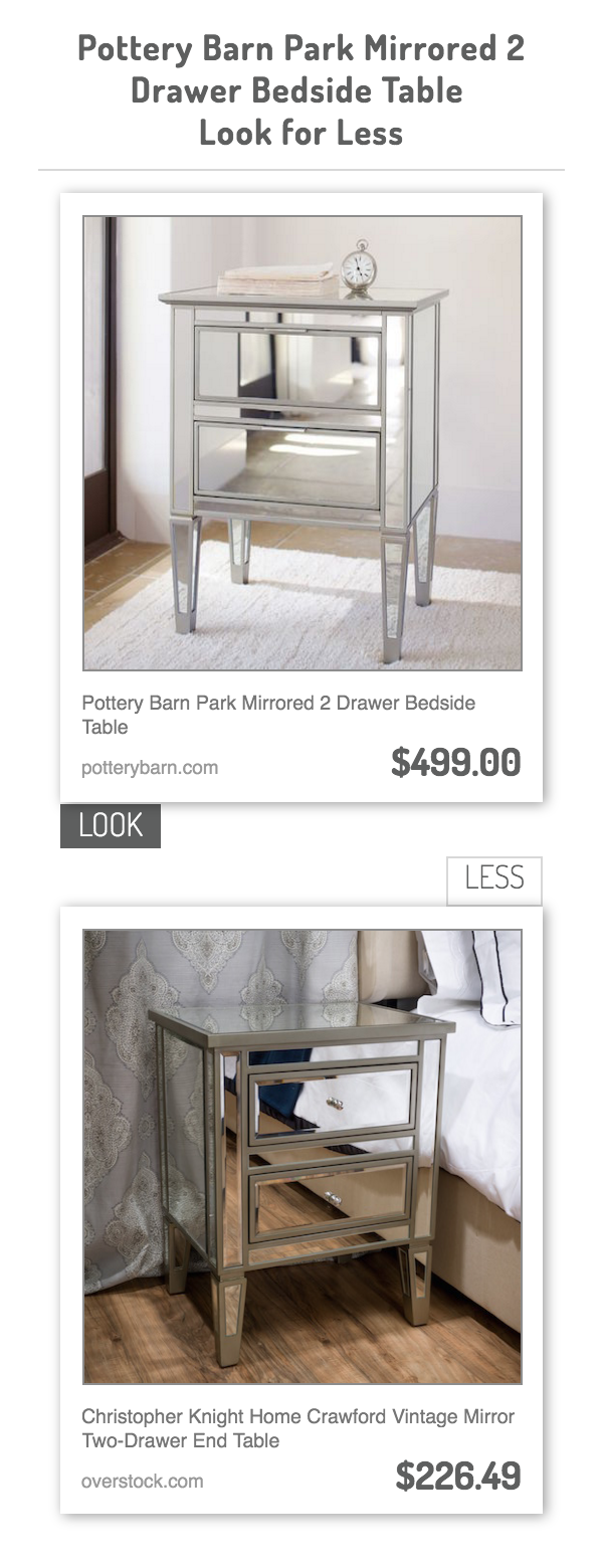 Pottery Barn Park Mirrored 2 Drawer Bedside Table Vs