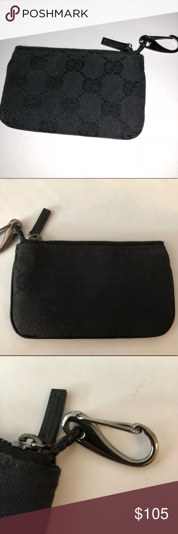 c2f949054ea Gucci keychain wallet Authentic Gucci black canvas logo keychain wallet.  Silver keychain. Perfect condition. Gucci Accessories Key   Card Holders
