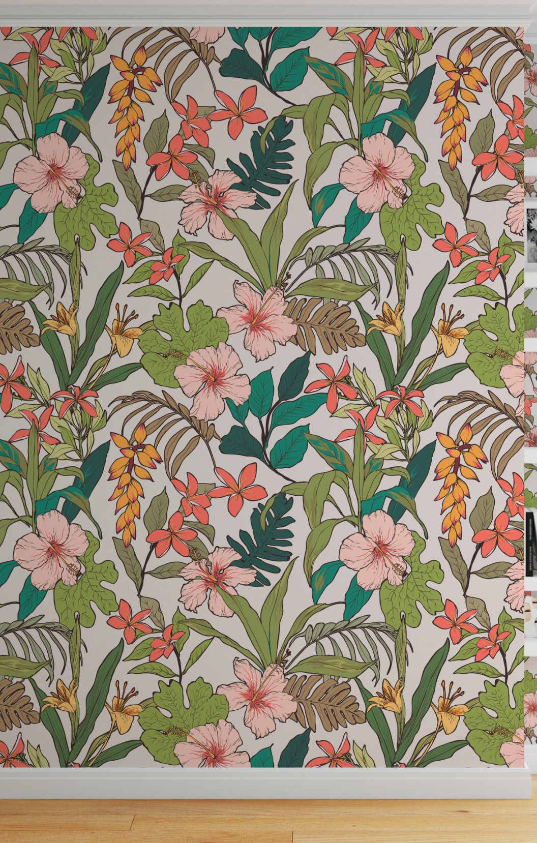 Floral Tropical Wallpaper Peel And Stick Wallpaper Banana Etsy Tropical Wallpaper Leaf Wallpaper Banana Leaf Wallpaper