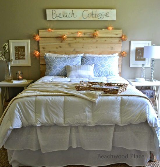 Beach Theme Guest Bedroom With Diy Wood Headboard Wall Art And