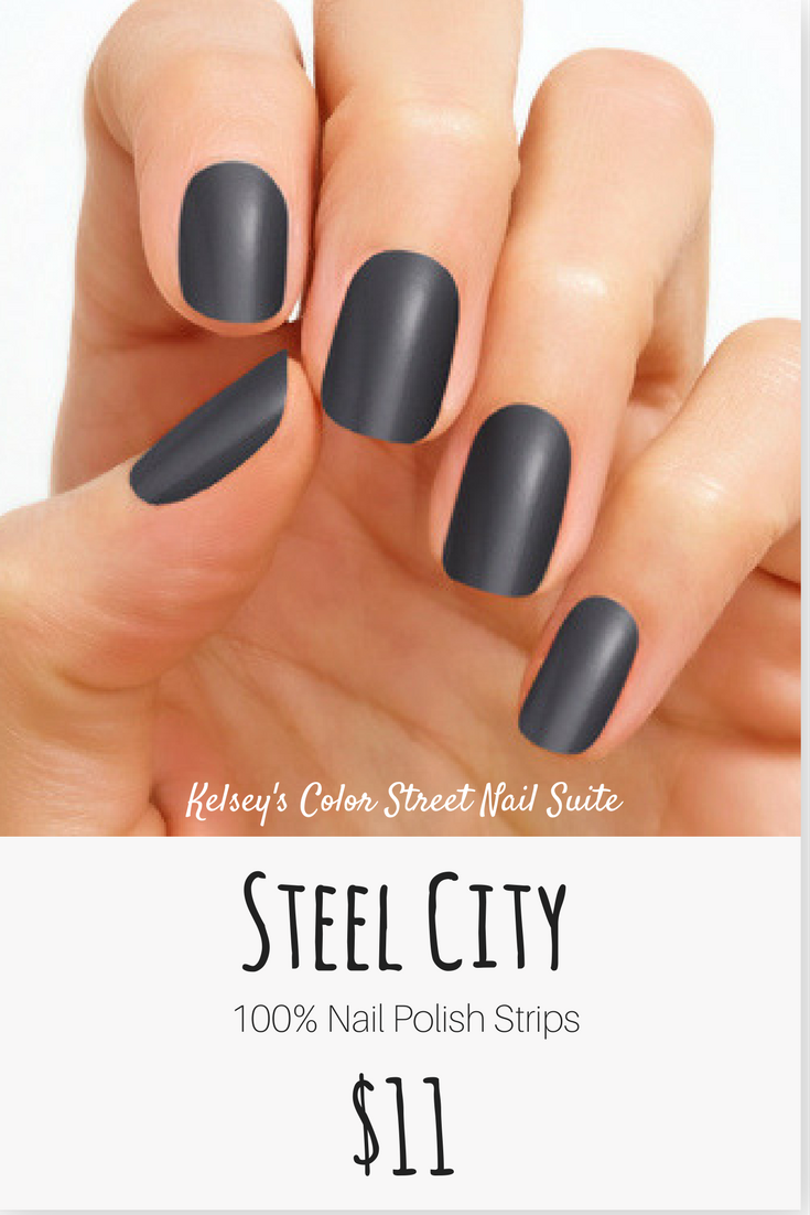 Color Street Steel City. Dark gray nail polish. Apply dry for a fast ...