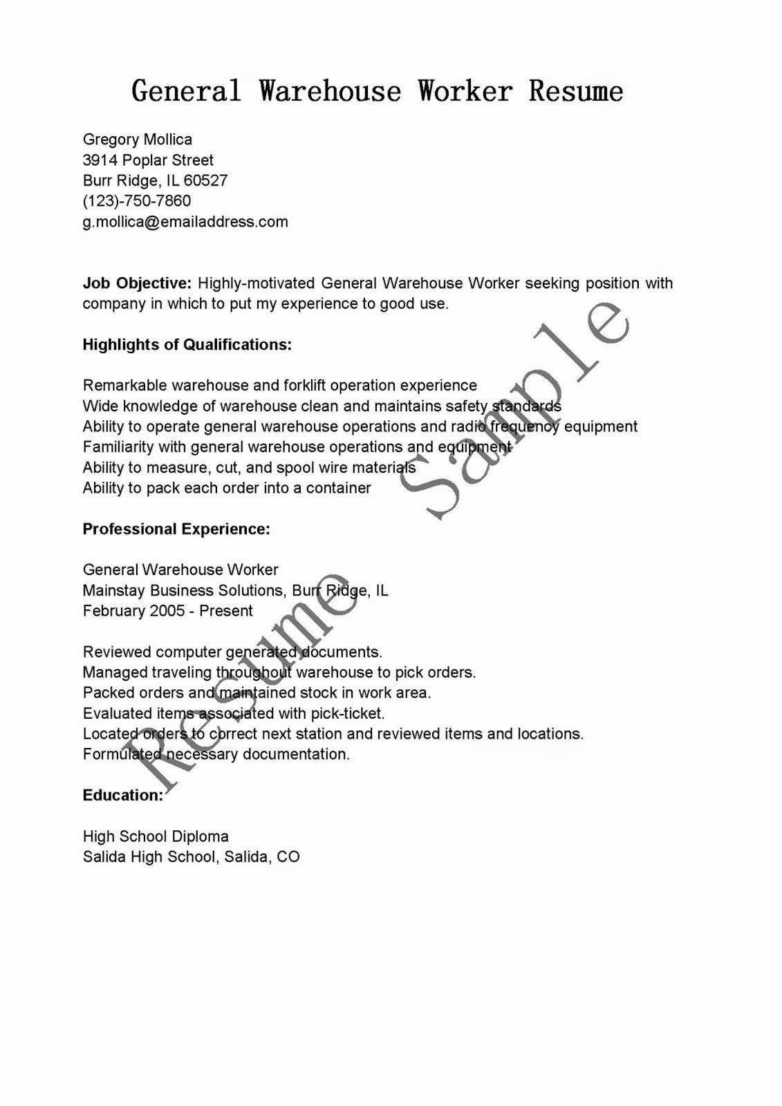25 Resume Template for Warehouse Worker in 2020 (With
