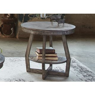 Shop For Hayden Way Gray Wash Reclaimed Wood Round End Table. Get Free  Shippingu2026
