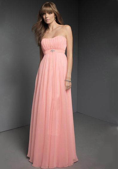 A-Line/Princess Strapless Floor-Length Chiffon Charmeuse Bridesmaid ...