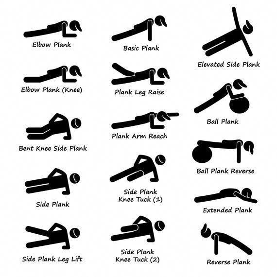 Plank Training Variations Exercise Poses Postures Strength Training Workout Fitness Gym Digital Download Icons Sign Symbol PNG SVG Vector
