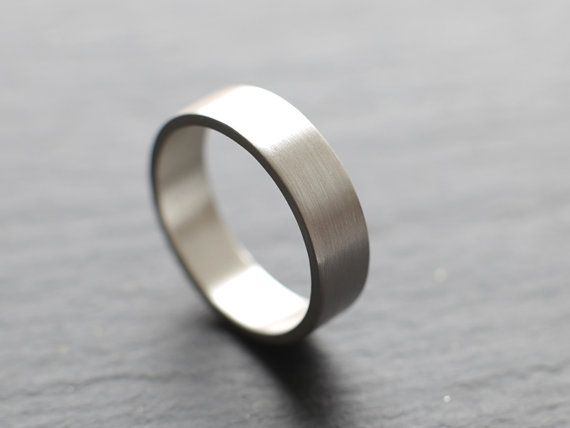 6mm Wide Mens Wedding Ring In Tarnish Resistant Argentium Silver Flat Profile Brushed Finish Made To Order
