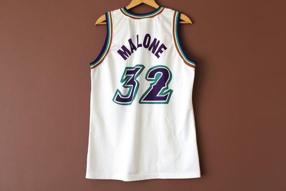 the best attitude 860c8 648e1 Vintage Karl Malone Utah Jazz Jersey, White NBA Jersey, Made ...