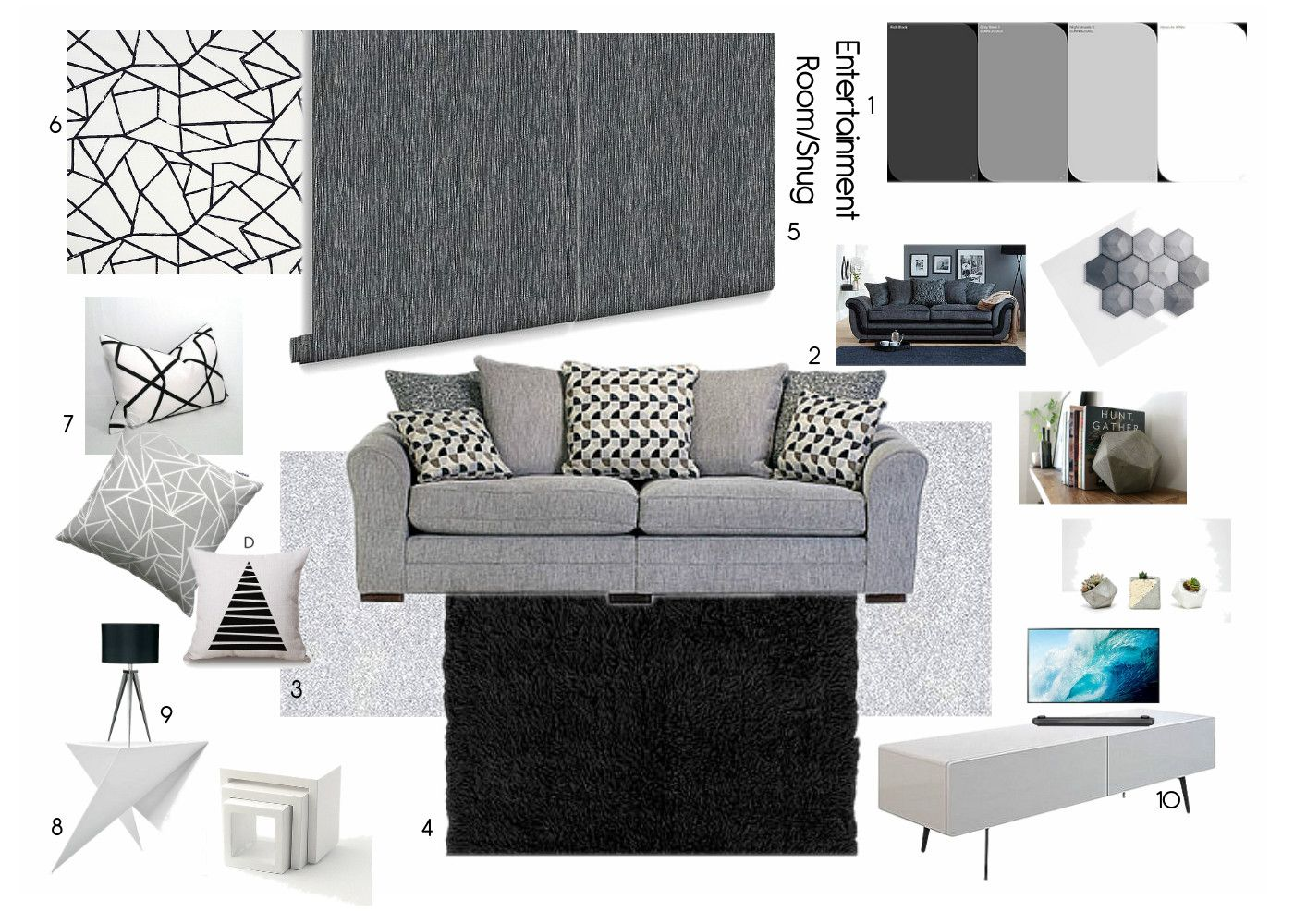 Achromatic Colour Scheme Snug Entertainment Room Entertainment Room Room Colors Room Color Schemes