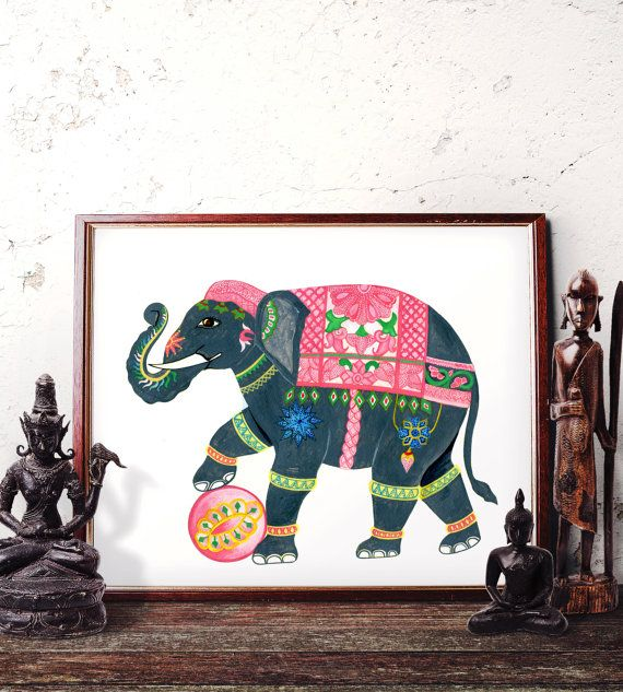 Elephant Wall Art, Bohemian Elephant Watercolor Painting