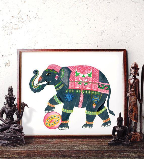 Elephant Wall Art, Bohemian Elephant Watercolor Painting ...