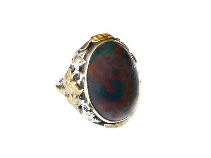Antique Bloodstone Ring Sterling Silver 12K Gold Arts and