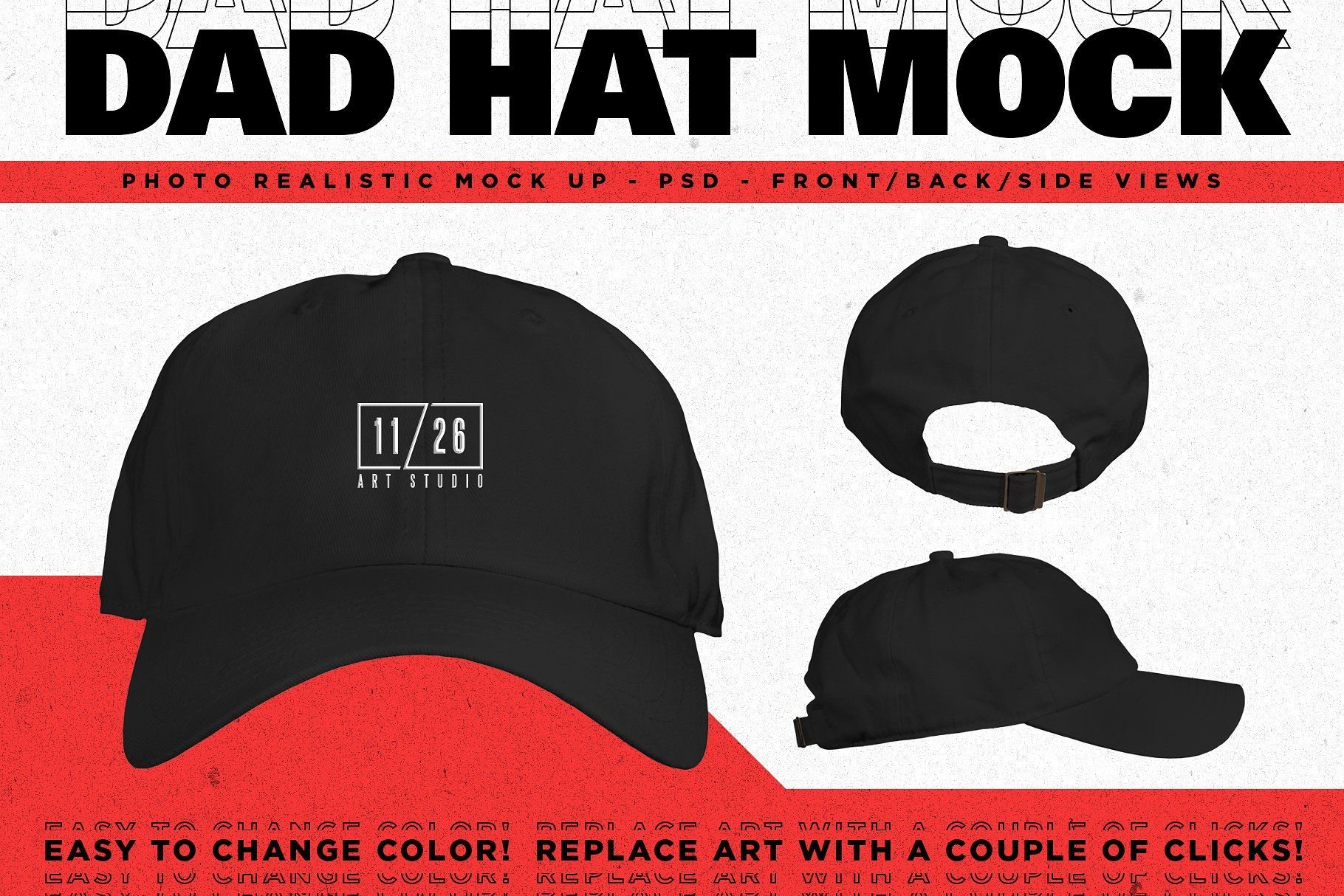 b0e2c46ffa09e Dad Hat Embroidery Action Bundle  layer Easily views change ...
