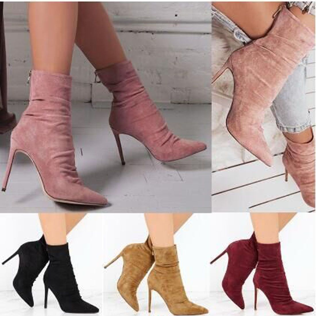 Faux Suede Women/'s High Heels Boots Pointed Toe Zip Stiletto Party Banquet Shoes