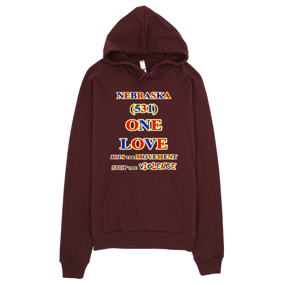 NEBRASKA Area Code ONE LOVE HOODIE Products - Area code 531