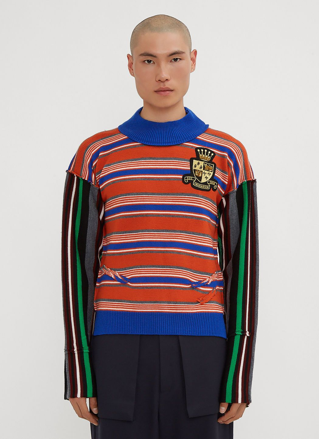 cloth Stripe w In J anderson w Logo Deconstructed anderson Blue Patch Jumper j q67AgXw