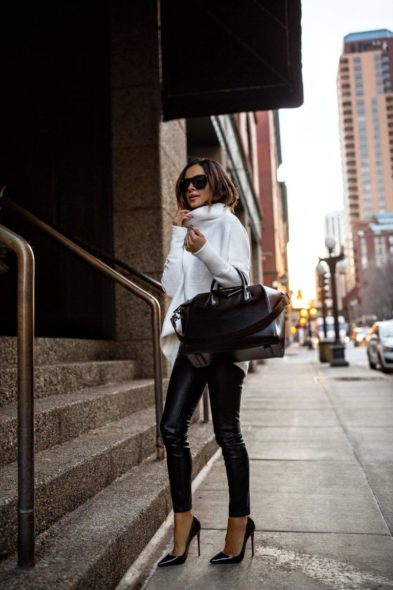 7ab9b077a61f20 fashion blogger mia mia mine wearing a white sweater and black faux leather  denim