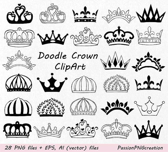Doodle Crown Clipart Hand Drawn Crown Clip Art Crown Etsy How To Draw Hands Crown Clip Art Crown Silhouette