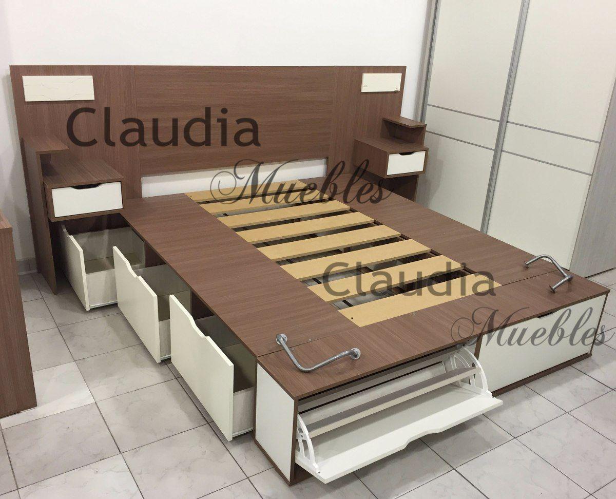 Resultado de imagen para respaldo de cama con mesa de luz - Camas de 90 con cajones ...