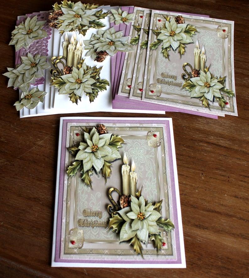 DIY Card Kit, Christmas Card Kit, Holiday Cards, Christmas Cards, Merry Christmas, Poinsettias for Christmas, Christmas Candles Victorian #cardkit