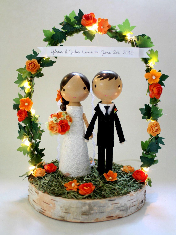 Custom wedding cake topper wood slab, twiggy arch