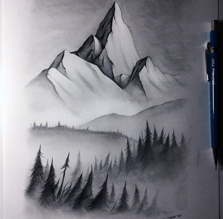 Lethal Chris S Misty Mountain Mountain Drawing Landscape Drawings Cool Landscapes